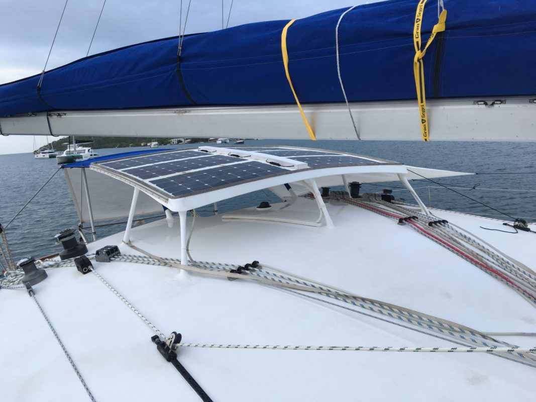 On Deck: Sheets and reefing lines led back to the cockpit. Sunroof and water catchment system